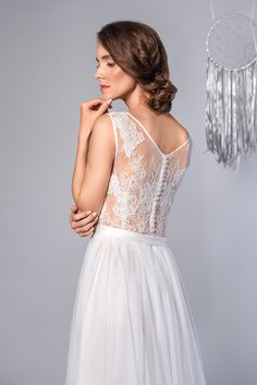 d83f522da1 Dream - Piękna i Zmysłowa Suknia Ślubna Koronka Tiul. Rusical Wedding Dress  Lace Back Tulle