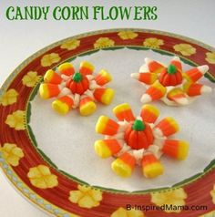 What is your favorite Autumn treat?  Check out the easy Candy Corn Flowers the kids and I made! B-InspiredMama.com
