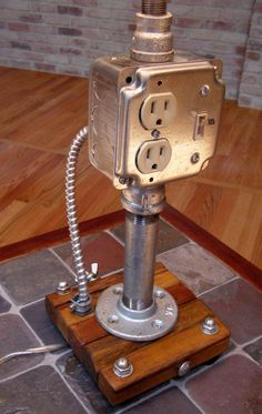 gas pipe lamp with rustic gear accent and industrial shade on off rh pinterest com 3-Way Lamp Switch Wiring Diagram Light Socket Diagram