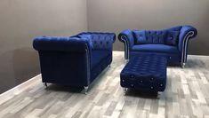 De Luxe Premium Velvet Sofa range - My Website 2020 Blue Velvet Sofa Living Room, 4 Piece Living Room Set, Blue Living Room Sets, Accent Chairs For Living Room, Living Room Sofa, Living Room Decor, Blue And Gold Living Room, Apartment Living, Crushed Velvet Sofa