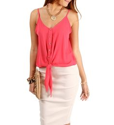 Coral Front Tie Sleeveless Top