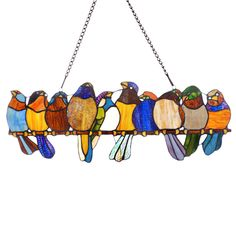 River of Goods Birds On A Wire Stained Glass Window Panel