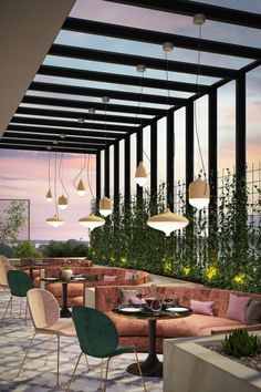 restaurant interieur This restaurant has lots of natural light during the day and unique light fixtures to bring light in at night. Outdoor Restaurant Design, Rooftop Restaurant, Restaurant Lighting, Cafe Lighting, Pergola Lighting, Lighting Ideas, Lighting Design, Coffee Shop Design, Cafe Design