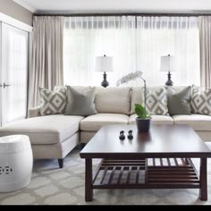love this look for curtains with sheer underneath for living room... privacy without window shades