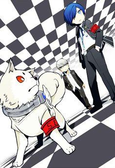 Narukami with Koromaru and the protagonist of Persona 3 Fire Emblem, Persona 3 Portable, Persona Q, Yu Narukami, Shin Megami Tensei Persona, I Love Games, New Cinema, Manga Illustration, Rpg