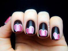 Pink heart mani