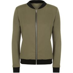 Yuki Long Sleeve Bomber Jacket (£15) ❤ liked on Polyvore featuring outerwear, jackets, green, green zip jacket, brown jacket, green zipper jacket, long sleeve jacket and summer jacket