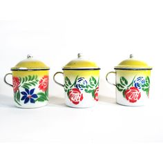 Enamelled Cup of Coffee with Lid, Espresso Mug, Expresso Cup, Yellow Floral Cup of Tea, Flower Enamelware