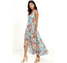 Something to Believe In Turquoise Floral Print Wrap Dress @ CollectiveStyles.com