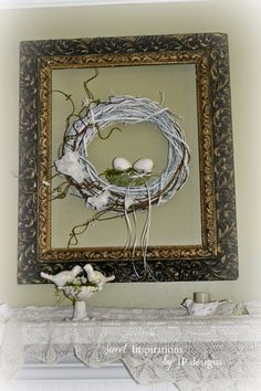 Sweet Inspirations by JP designs: Spring Green & White Shabby Birds on Our Mantel