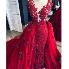 Red Lace Prom Dress, Mermaid Prom Dresses Lace, Navy Blue Prom Dresses, Beaded Prom Dress, Lace Mermaid, Beaded Lace, Sexy Evening Dress, Long Sleeve Evening Dresses, Long Evening Gowns