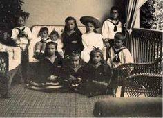themauveroom: The Grand Duchesses and their cousins Princess Irina Alexandrovna, Prince Andrei, Prince Feodor, Prince Nikita, Prince Dmitri, and Prince Rostislav: 1903.