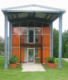 shipping container home - appears to be enclosed in glass