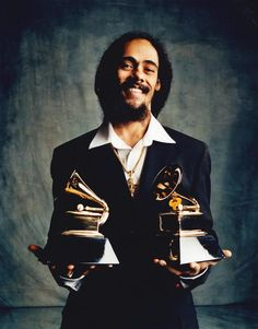 """Damian Marley and his two grammys for """"Halfway Tree""""."""