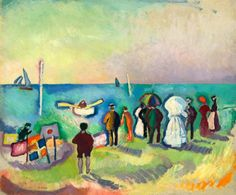 The Beach at Sainte-Adresse - Dufy, Raoul (French, 1877 - Fine Art Reproductions, Oil Painting Reproductions - Art for Sale at Galerie Dada National Art, National Gallery Of Art, Art Gallery, Georges Braque, Henri Matisse, Renoir, Monet, Raoul Dufy, Maurice De Vlaminck