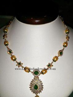 CZ Emerald Gold Necklace 32gms