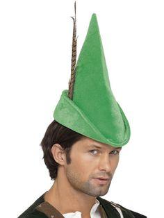 Zabawna, rzucająca się w oczy czapka Robin Hooda z piórkiem