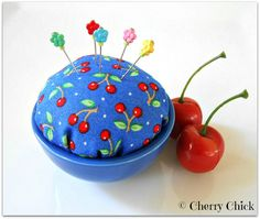 Cherry Pincushion with Decorative Pins by Cherry Chick