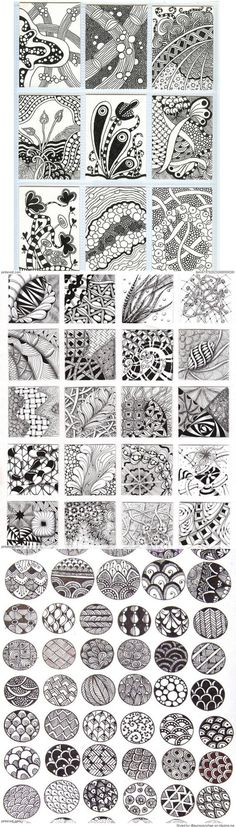 Zentangle Patterns & Ideas - be careful Zentangle is NAFF BEYOND BELIEF - done badly it looks like meaningless doodles: