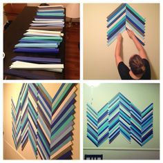 Wall art made with painted wood shims