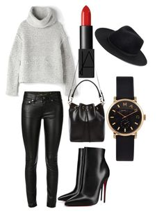 """""""Leather love"""" by theaclemetsen on Polyvore featuring Yves Saint Laurent, Raquel Allegra, NARS Cosmetics, Marc by Marc Jacobs, Forever 21 and Christian Louboutin"""
