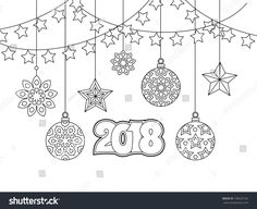 New year congratulation card with numbers 2018, christmas balls, stars, garlands. Antistress coloring book for adults. Zentangle inspired style. Zen monochrome graphic. Editable vector illustration