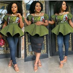 Pictures of our most lovely ankara styles of all time for every beautiful lady out here. Some try these lovely ankara styles African Dresses Online, African Dresses For Women, African Women, African Attire, African Wear, Modern African Clothing, Ankara Clothing, Clothing Styles, Ankara Peplum Tops