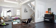 Tuananh Eke's white open plan living room with ornately carved laser cut feature wall