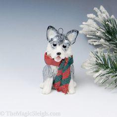 Siberian Husky Silver Ornament Porcelain