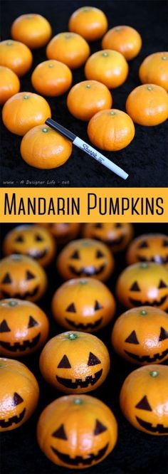 Mandarin Pumpkins: Now you have an excuse to put Halloween pumpkins all over your house. This healthy Halloween treat and snacks will keep your kids in the Halloween spirit without all the sugar. Find more easy and healthy Halloween treats here. halloween ideas/halloween ideas recipes Halloween Food Kids, Easy Halloween Snacks, Hallowen Party, Halloween Party Treats, Holoween Decorations, Easy Halloween Decorations Diy, Halloween Party Foods, Kindergarten Halloween Party, Halloween Recipe
