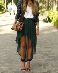 Long skirt and leather bomber