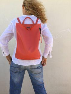 Leather backpack Peach Backpack Minimal backpack Women's Big Ipad, Black Leather Backpack, Leather Backpacks, Leather Bag, Back Bag, Winter Skirt, Cute Winter Outfits, Back To Black, Skirt Outfits