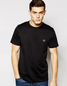 FRED PERRY T-SHIRT WITH CREW NECK - BLACK. #fredperry #cloth #