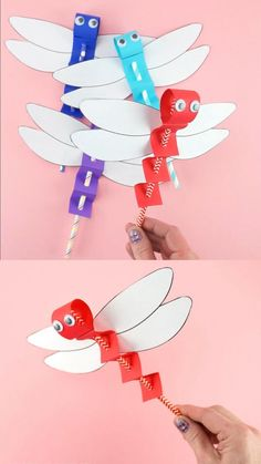 Dragonfly Craft Template -Easy Paper Craft for Kids! Kids of all ages will have blast using our dragonfly craft template Paper Crafts Origami, Paper Crafts For Kids, Craft Activities For Kids, Preschool Crafts, Summer Crafts For Kids, Mothers Day Crafts For Kids, Diy For Kids, Dragon Fly Craft, Dragon Crafts