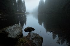 Fooooog - Foggy evening at the glacier lake in Low Tatras National park, Slovakia Glacier Lake, National Parks, River, Photography, Outdoor, Outdoors, Fotografie, Photography Business, Photo Shoot
