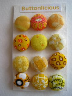 Yellow Fabric Covered Buttons OR Brads by Buttonlicious on Etsy, $5.00