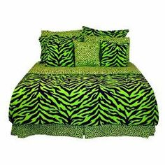 my cute bedspread for college! lime green and black animal print.