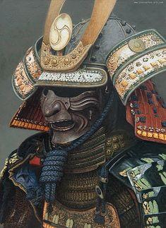 Kabuto Samurai, Samurai Helmet, Japanese Mask Tattoo, Japanese Tattoo Designs, Japanese Warrior, Japanese Art Samurai, Body Art Tattoos, Sleeve Tattoos, Samurai Warrior Tattoo