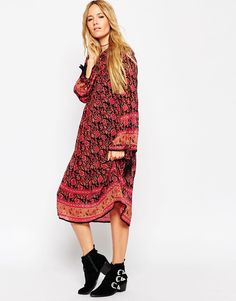Image 4 of ASOS Midi Boho Dress With Border Print