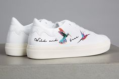 White sneakers w/ embroidery #sneakers #ss17 #fiamme