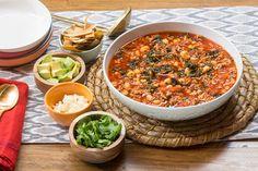 Recipe: Mexican Pork Pozole with Avocado, Lime & Crispy Tortilla Strips - Blue Apron Gf Recipes, Cooking Recipes, Family Recipes, Dinner Entrees, Dinner Recipes, Pozole, Blue Apron, The Fresh, Soups And Stews