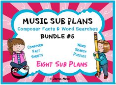*****$5.00*****Overview:This product is great for DISTANCE LEARNING as well as the elementary Music classroom!This product includes eight easy Music Sub Plans for 2nd - 6th. Each lesson is built around students learning some facts about a composer. Each includes a word search puzzle using words from... Art Lessons Elementary, Elementary Music, Music Education Activities, Physical Education, Music Sub Plans, Music Worksheets, Music Classroom, Teaching Music, Best Teacher