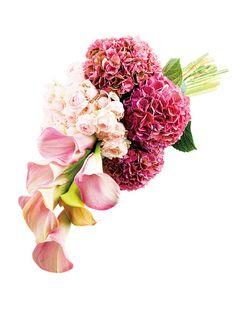 ビーハイブ 質感、フォルム、色、すべてが異なるピンクの花を束ねた、スタイリッシュなアームブーケ。