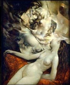 """""""My work is about leaving the door open to the imagination."""" -Dorothea Tanning (1910 – 2012)  Sleeping Nude (1954) by Dorothea Tanning. Oil on canvas."""