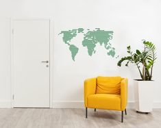 Modern World Map Wall Decal in Stripes - 12x23in / 30x58cm / Turquoise Blue