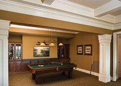 Utilize finished basement space as a billiards room, media space, or for any other type of entertaining! http://www.dongardner.com/plan_details.aspx?pid=4223 Check out the Clubwell Manor Plan 5037 #Home #Designs #Craftsman #Basement