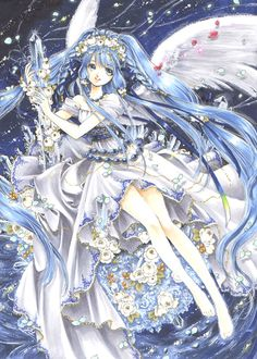 Blue angel with long blue hair, feather wings, flowers, & white dress by manga artist Shiitake.