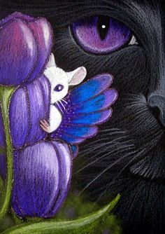 Art: BLACK CAT - FAIRY MOUSE - TULIPS by Artist Cyra R. Cancel