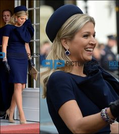 Máxima, jurk met strik, donkerblauw, Jan Taminiau Dutch Queen, Dutch Royalty, Cocktail Hat, My Fair Lady, Queen Maxima, Brigitte Bardot, Royal Fashion, Style Icons, Look