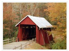 Campbell Covered Bridge,  Greenville County.  Last remaining covered bridge in South Carolina.